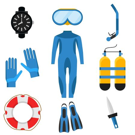 Collection of underwater activity diving equipment and accessories. Vector illustration