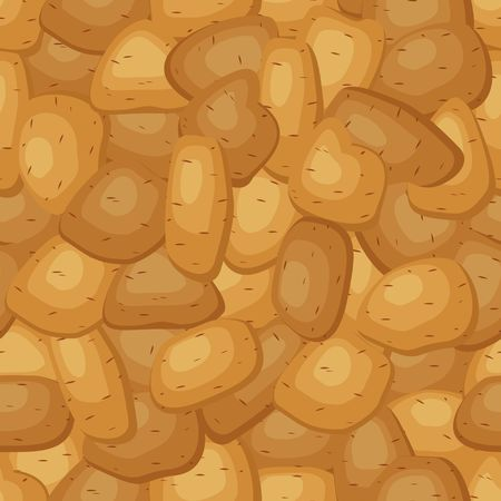 Seamless pattern with fresh ripe potatoes. Background with potatoes different shapes with brown pointed skin. Vector illustration