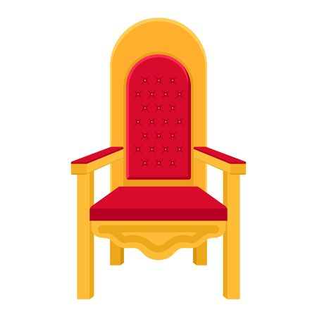 Red royal throne. King throne or armchair icon in flat style isolated on white background. Vector illustration Illustration