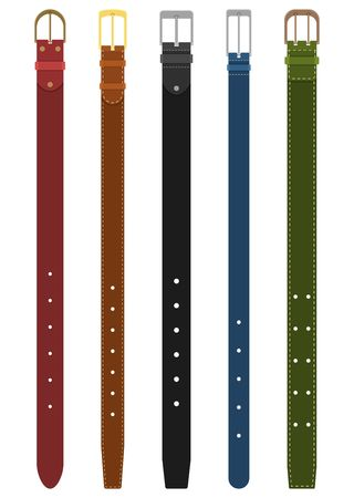 Set of different colored belts with buckles isolated on white background. Element of clothing design. Belt trouser in flat style. Vector illustration