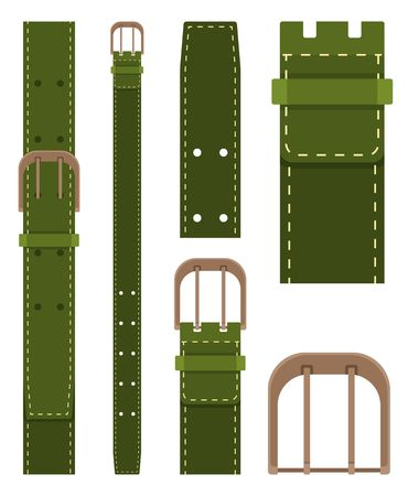 Green belt with buckle isolated on white background. Element of clothing design. Belt trouser in flat style. Vector illustration