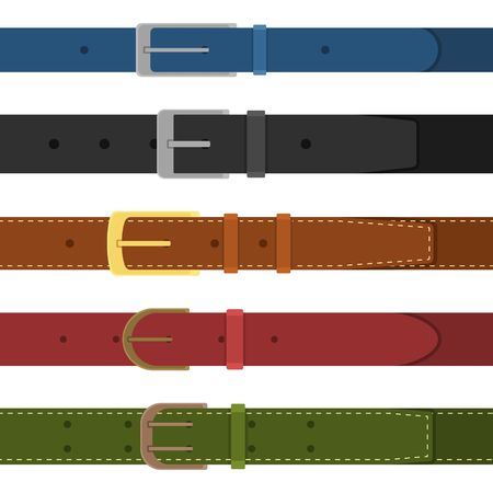 Set of different colored buttoned to buckle belts isolated on white background. Element of clothing design. Belt trouser in flat style. Vector illustration
