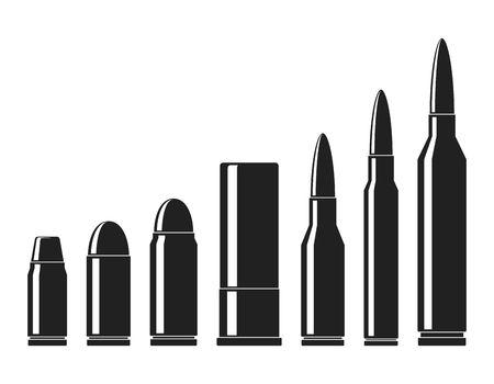 Conjunto de vectores de iconos de cartuchos. Una colección de iconos de balas aisladas sobre fondo blanco. Tipos y tamaño de munición de arma en estilo plano. Ilustración vectorial Ilustración de vector