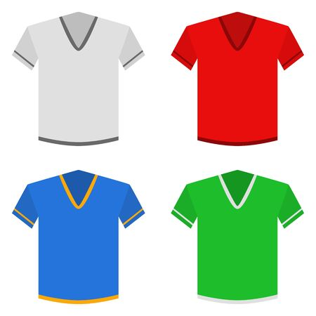 Classic t-shirts set in flat style. Shirts colored templates icons isolated on white background. Clothes vector illustration 向量圖像