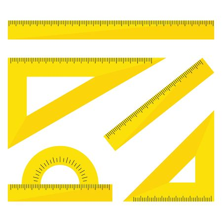 Set of yellow plastic rulers isolated on white background. Ruler, triangle ruler, protractor for school and business. Vector Illustration Illustration