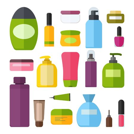 Set of vector colorful cosmetic bottles.
