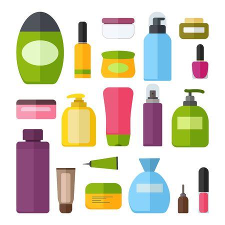 Ensemble de bouteilles cosmétiques colorées de vecteur.