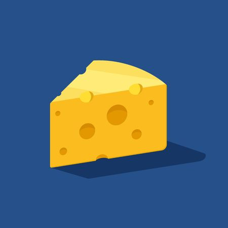 Cheese vector icon on blue background with shadow. Yellow cheddar milk food. Breakfast or snack symbol. Bio, eco, organic product. Vector illustration.
