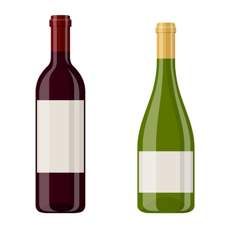 Vector illustration of a red and white wine bottles isolated on white background. Alcoholic drink in flat cartoon style.