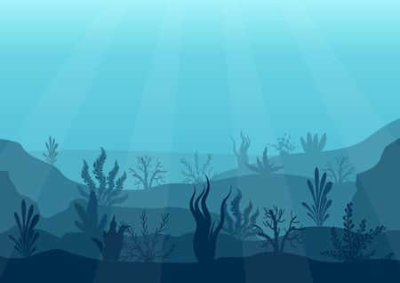 Underwater ocean scene. Deep blue water, coral reef and underwater plants. Marine sea bottom silhouette with seaweed, algae and coral. Vector illustration background. Illusztráció