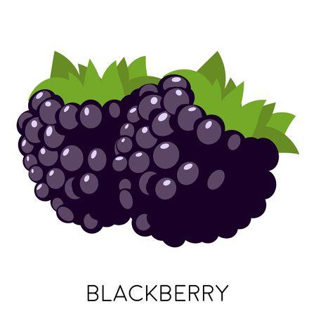 Icona piana di Blackberry isolato su priorità bassa bianca. Frutta dolce. Bacca sana della foresta. Eco delizioso cibo estivo. Illustrazione vettoriale