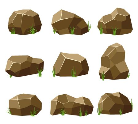 Rocks and stones set with grass on white background. Stones and rocks in isometric 3d flat style. Set different shapes and sized boulders for background natural landscape and game. Vector illustration