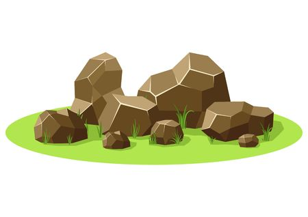 Rocks and stones piled on green grass. Stones and rocks in isometric 3d flat style. Set different shapes and sized boulders for background natural landscape and game. Vector illustration Ilustração