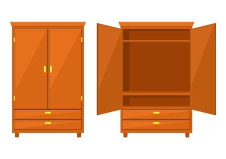 Open and closet wardrobe isolated on white background .Natural wooden Furniture. Wardrobe icon in flat style. Room interior element cabinet to create apartments design. Vector illustration