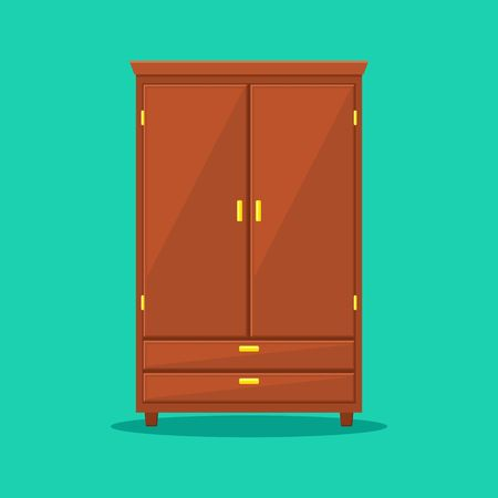 Wardrobe isolated on background. Natural wooden Furniture. Wardrobe icon in flat style. Room interior element cabinet to create apartments design. Vector illustration Çizim