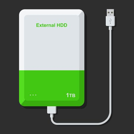 External hard disk drive with USB cable isolated on dark background. Portable extern HDD. Memory drive vector illustration