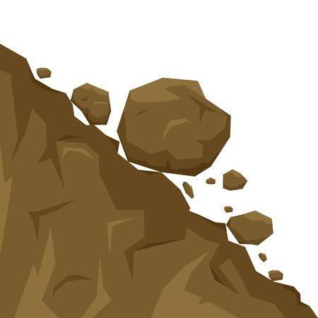 Deslizamiento de tierra aislado sobre fondo blanco, piedras caen de la roca. Cantos rodados rodando colina abajo. Ilustración de vector de desprendimiento de rocas