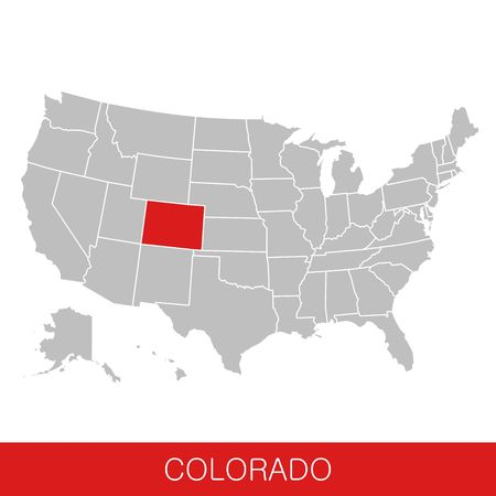 United States of America with the State of Colorado selected. Map of the USA vector illustration
