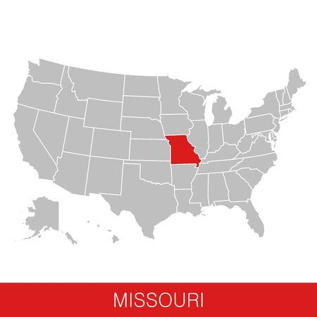 United States of America with the State of Missouri selected. Map of the USA vector illustration