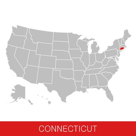 United States of America with the State of Connecticut selected. Map of the USA vector illustration Illustration