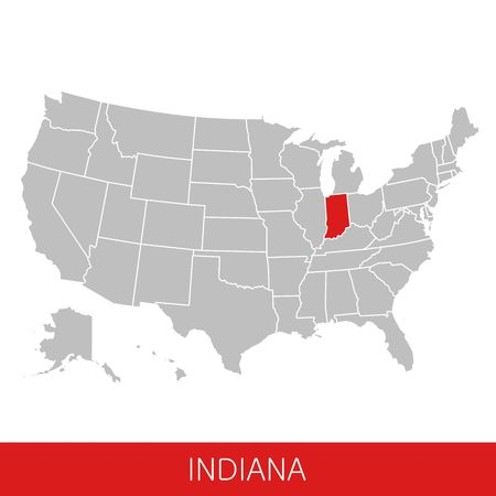 United States of America with the State of Indiana selected. Map of the USA vector illustration