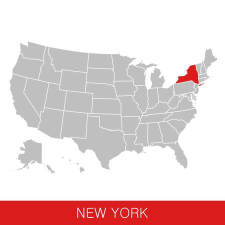 United States of America with the State of New York selected. Map of the USA vector illustration Ilustrace