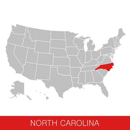 United States of America with the State of North Carolina selected. Map of the USA vector illustration Ilustrace