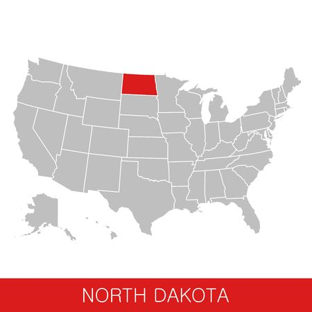 United States of America with the State of North Dakota selected. Map of the USA vector illustration Ilustrace