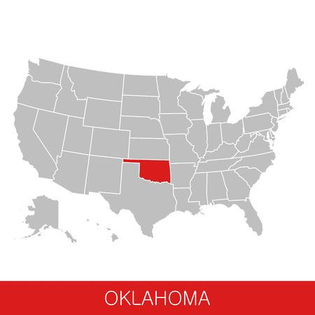 United States of America with the State of Oklahoma selected. Map of the USA vector illustration