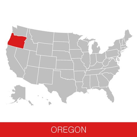 United States of America with the State of Oregon selected. Map of the USA vector illustration