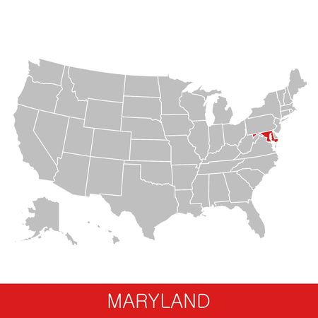 United States of America with the State of Maryland selected. Map of the USA vector illustration