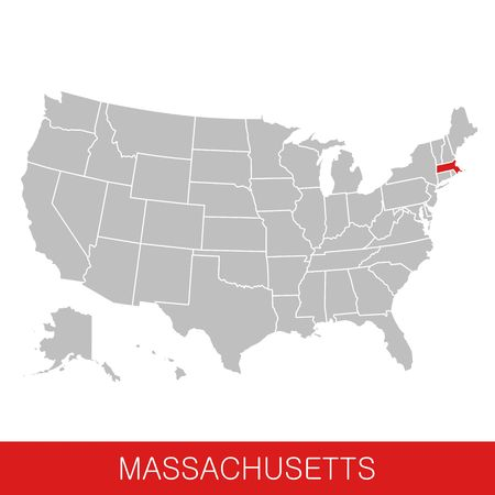 United States of America with the State of Massachusetts selected. Map of the USA vector illustration