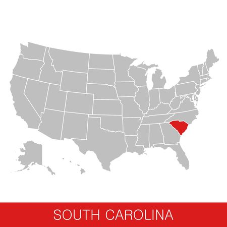 United States of America with the State of South Carolina selected. Map of the USA vector illustration