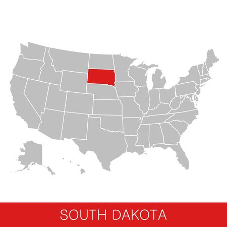 United States of America with the State of South Dakota selected. Map of the USA vector illustration Ilustrace