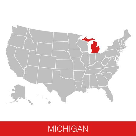 United States of America with the State of Michigan selected. Map of the USA vector illustration Ilustrace