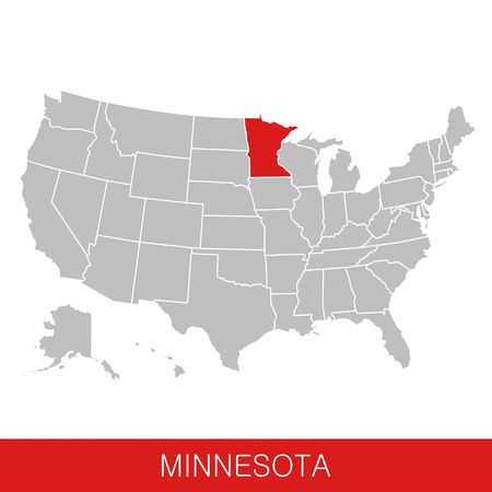 United States of America with the State of Minnesota selected. Map of the USA vector illustration