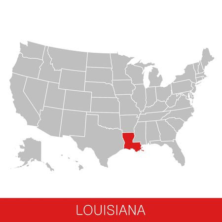 United States of America with the State of Louisiana selected. Map of the USA vector illustration Çizim