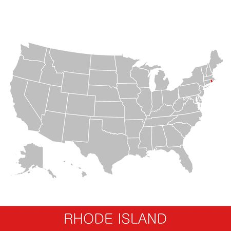 United States of America with the State of Rhode Island selected. Map of the USA vector illustration