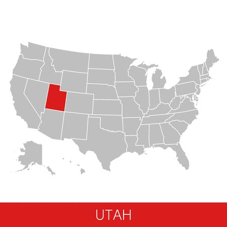 United States of America with the State of Utah selected. Map of the USA vector illustration 写真素材