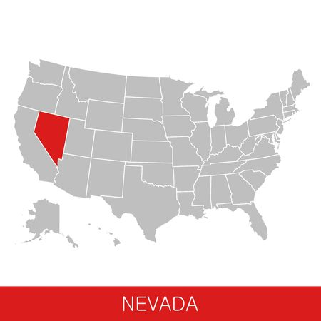 United States of America with the State of Nevada selected. Map of the USA vector illustration Reklamní fotografie