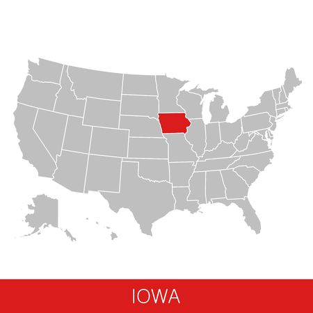 United States of America with the State of Iowa selected. Map of the USA vector illustration Reklamní fotografie