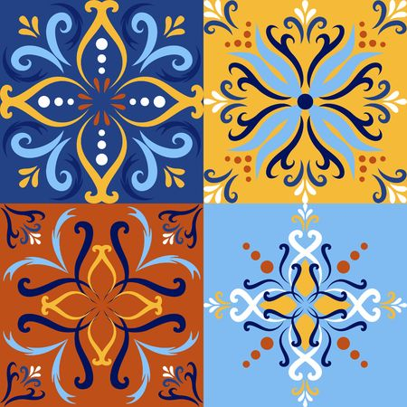 Italian ceramic tile set seamless pattern backgrounds. Traditional ornate talavera decorative color tiles azulejos. Spanish, Italian, Portuguese, Turkish motifs floral mosaic. Ethnic ornament vector Ilustracja