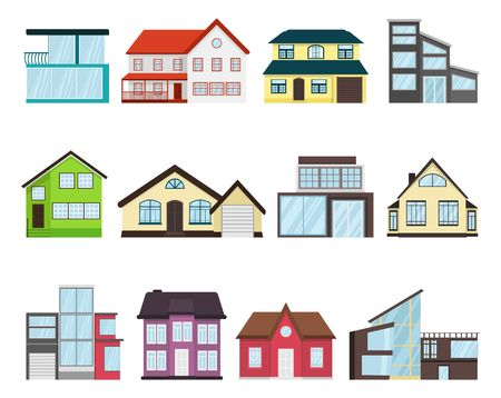 Town house cottage set different types Home Architecture retro and modern concept flat design style. Residential houses exterior front isolated on white. Townhouse building apartment. Facade vector