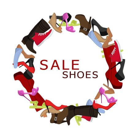 Female shoes Sale round frame, Colorful shoes and boots for women in the shape of a circle banner. Shopping vector illustartion