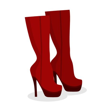 Womens fashion red shoes boots on white background, Female winter, autumn or spring footwear boot on a high heel. Vector illustration Ilustrace