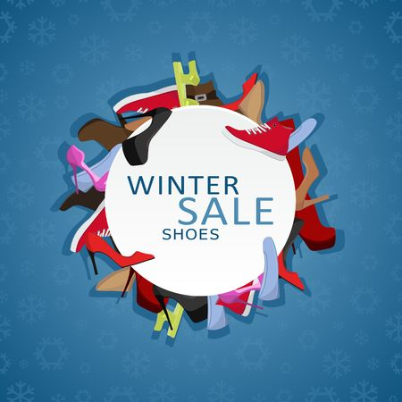 Female shoes Winter Sale round frame on blue background with snowflakes, Colorful shoes and boots for women circle banner. Shopping vector illustartion