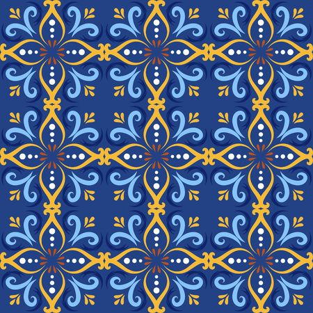 Blue italian ceramic tile seamless pattern backgrounds. Traditional ornate talavera decorative color tiles azulejos. Spanish, Italian, Portuguese, Turkish motifs floral mosaic. Ethnic ornament vector