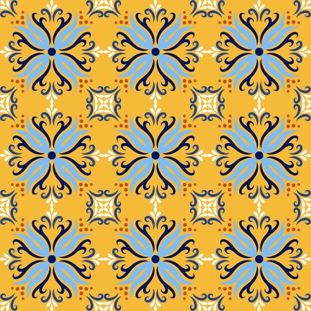 Yellow italian ceramic tile seamless pattern backgrounds. Traditional ornate talavera decorative color tiles azulejos. Spanish Italian, Portuguese, Turkish motifs floral mosaic. Ethnic ornament vector