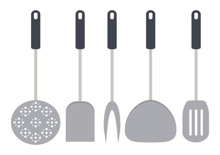 Kitchen tools and restaurant utensils isolated on white backgroud. Spatula, whisk, fork, ladle, cheese slicer, skimmer and sieve. Vector illustration