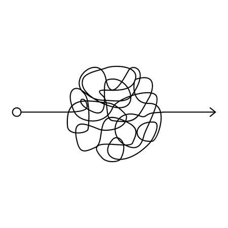 Línea desordenada loca, forma de ovillo complicado sobre fondo blanco. Camino de garabatos enredados, proceso caótico y difícil. Línea negra curva, que resuelve un problema o una búsqueda complejos. Ilustración vectorial